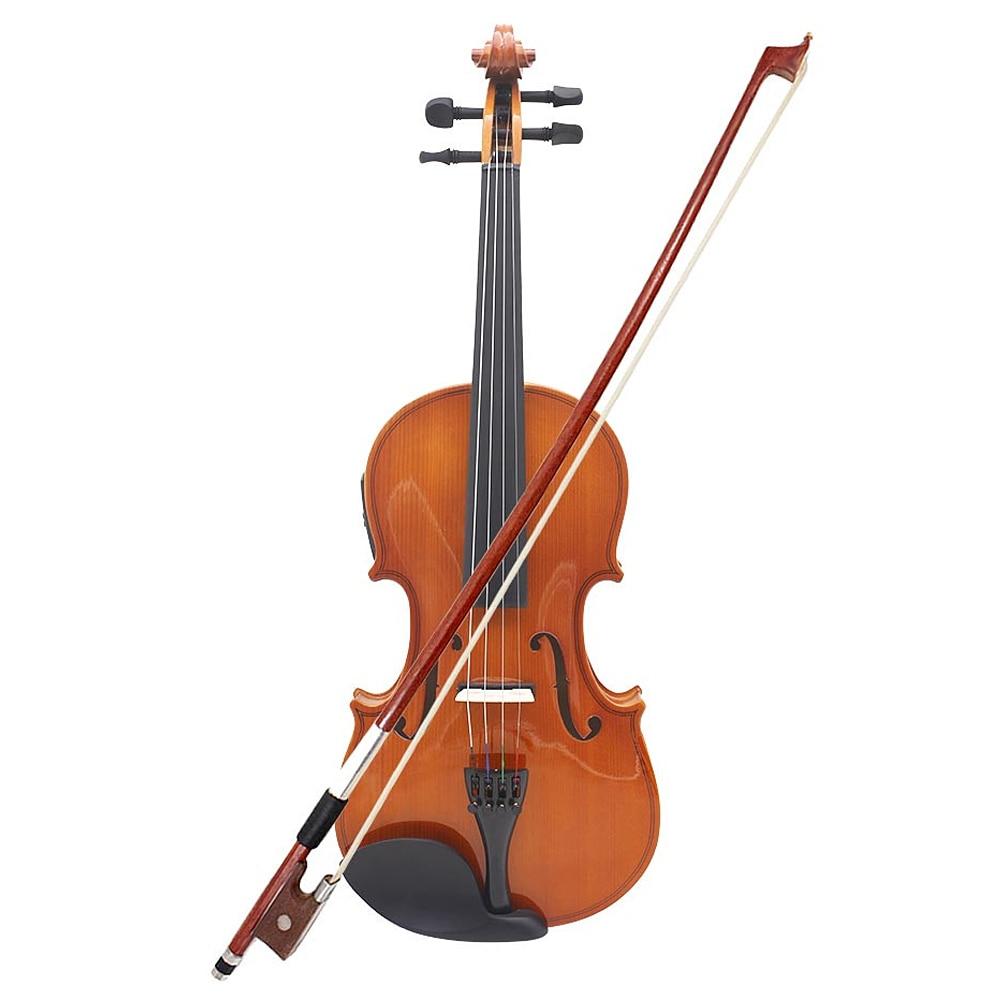 4/4 taille réelle violon acoustique naturel EQ violon violon en bois massif épicéa Face panneau avec 6.35mm fil arc reste colophane chaîne cas
