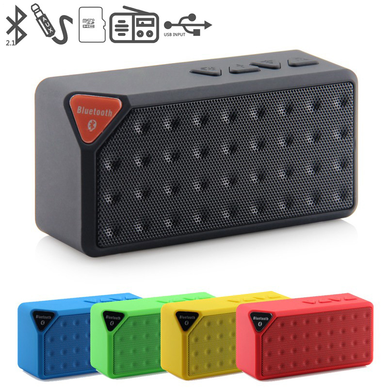 X3 Portable Mini Bluetooth Speaker Wireless Music Sound Box Subwoofer Loudspeakers with Mic for phone support  TF USB FM Radio