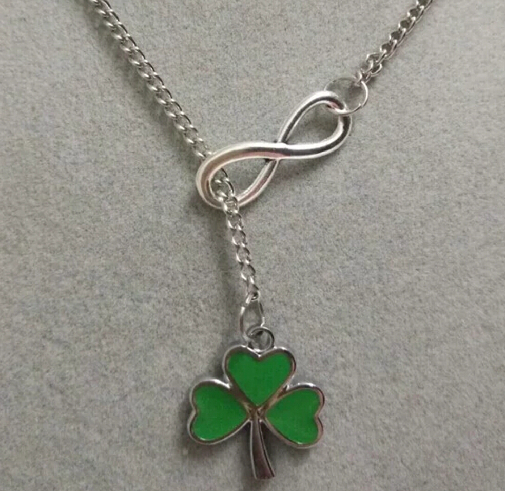 2 x Clover  Silver Plated Green Enamel Pendant Charms
