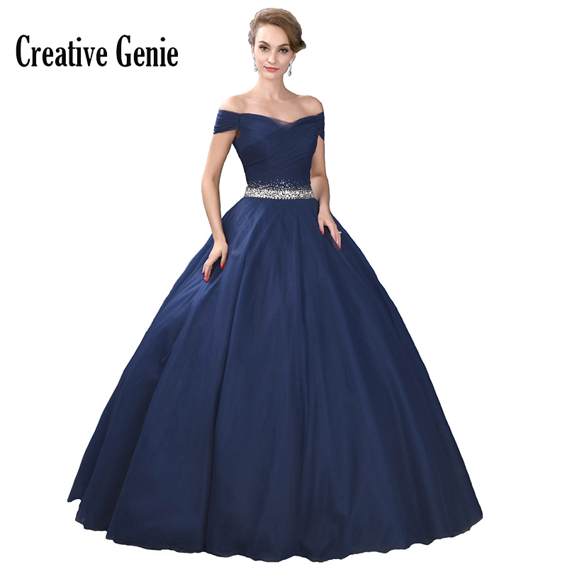 Royal Blue Long   Prom     Dresses   2018 Off The Shoulder Vintage Boat Neck Sleeveless Crepe Sexy Evening   Dresses   Party Gowns For Women