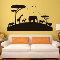 Lion Elephant Tiger Giraffe African Safari Wall Sticker Nursery Decorative Stickers Vinyl Removable Animal Wall Decal