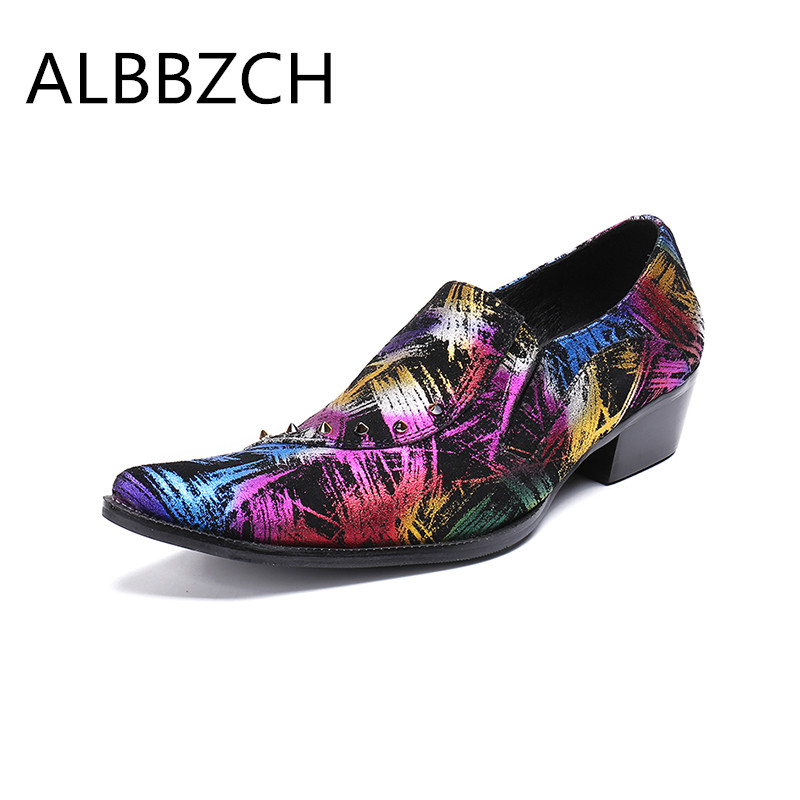 cute new arrivals official Pointed toe printing leather mens career work shoes men ...