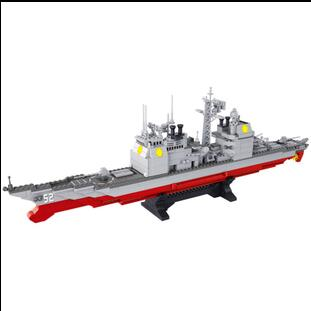 Sluban 883Pcs Military Series Army NAVY Warship Model Building Blocks CRUISER Plane Carrier Bricks Gift toys for children 020 kazi 608pcs pirates armada flagship building blocks brinquedos caribbean warship sets the black pearl compatible with bricks