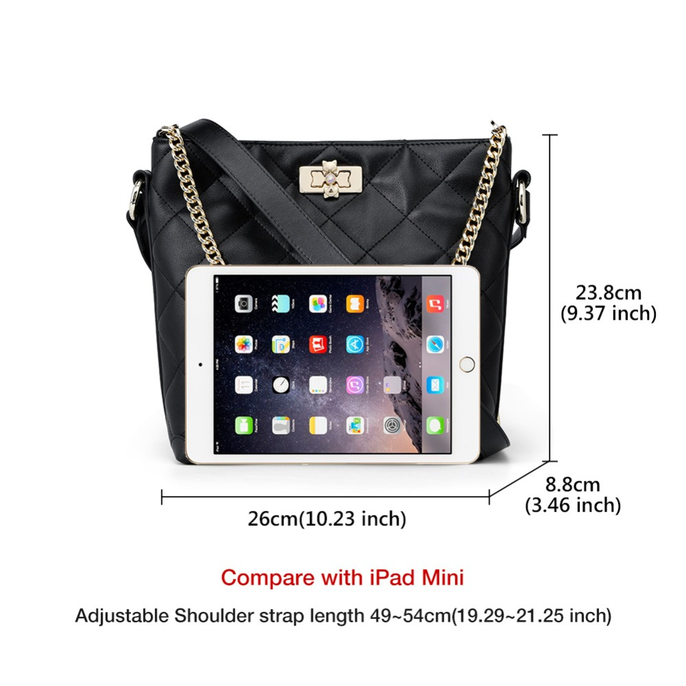 FOXER Brand Women Crossbody Bag Large Capacity Shoulder Bags Lady Bucket Bag Fashion Chain Lattice Bag with strap for Girls 3