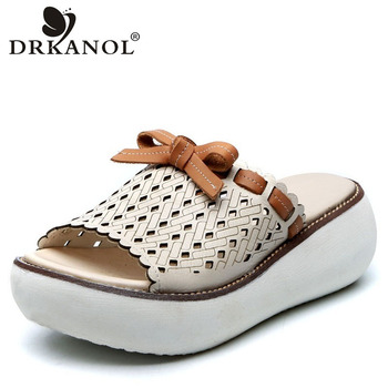 DRKANOL Retro Slippers Women 2020 Summer Shoes Women Wedges Platform Slippers Genuine Leather Open Toe Slipper Casual Slides