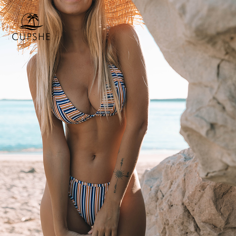 CUPSHE Sexy Stripe Triangle Bikini Sets Women Back Hook Thong Two Pieces Swimwear 2020 Girl Beach Bathing Suit Swimsuits