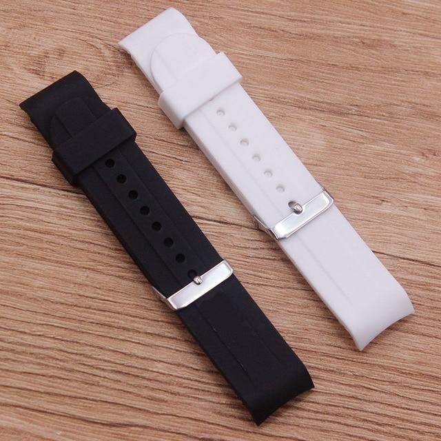 Watch accessories rubber silicone watch elbow 24MM waterproof and sweat-proof belt black white rubber belt men's watch belt