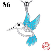 SG Bird Necklace with blue Enamel Pendant necklace 925 sterling silver cute animal chain necklaces fashion jewely for women gift ztung gop9 for us fashion ziron flowers pendant send with white and blue material 925 silver chian for women wonderful gift