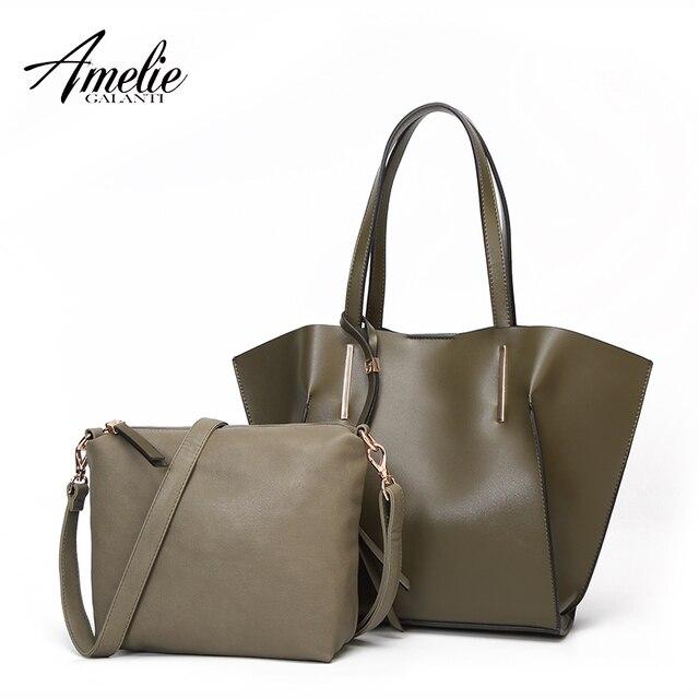 Amelie Galanti Women Bag Set Top-Handle Big Capacity Female Handbag Fashion Shoulder Bag Purse Ladies PU Leather Crossbody Bag