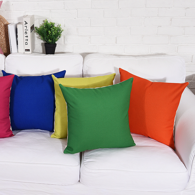 Solide Couleur Coussin Couvre Bleu Rose Jaune Rouge Vert Throw ...