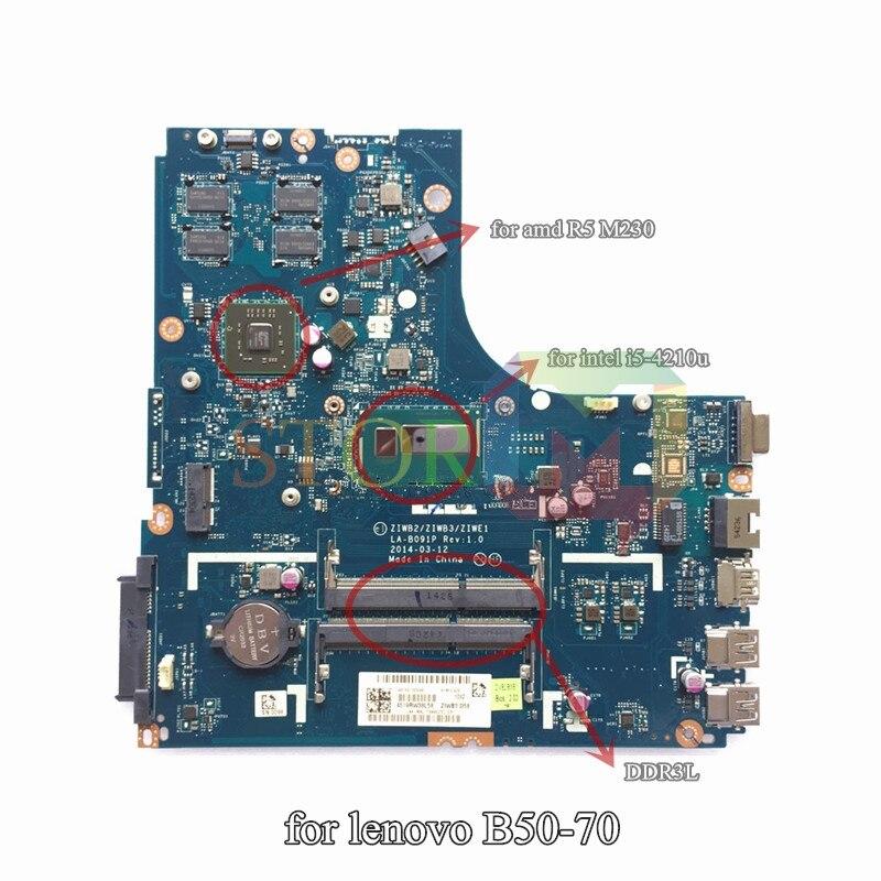 NOKOTION for lenovo B50-70 laptop motherboard ZIWE1 ZIWB2 ZIWB3 LA-B091P i5-4210U for R5 M230 ddr3L