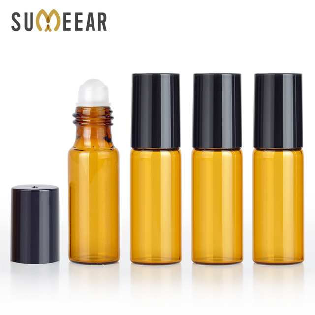 100pcs/lot 5ml Mini Portable Amber Essential Oil Bottle Empty Perfume Roll on Bottle Metal Ball Roller Brown Essential Oil Vials