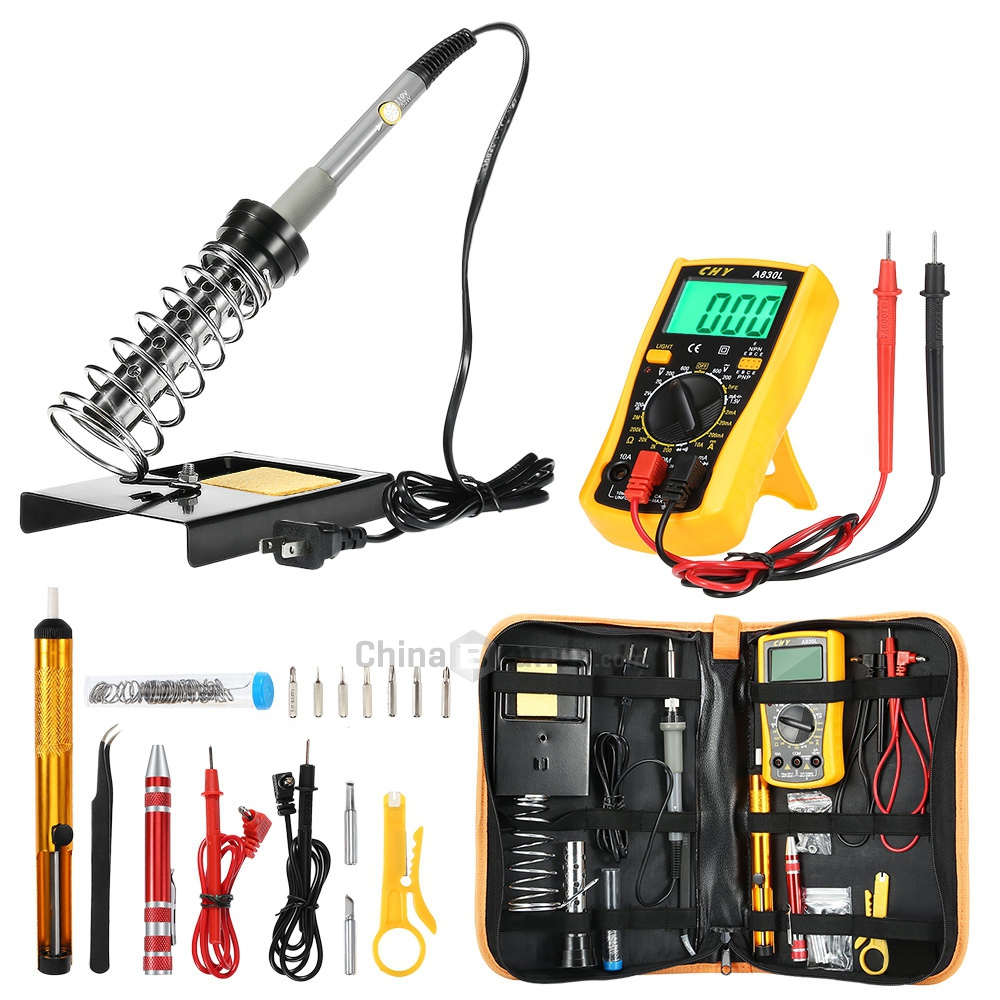 New D60 Soldering Iron Kit Adjustable Temperature Welding Tool With Digital Multimeter Soldering Iron Wire Stripper Screwdriver