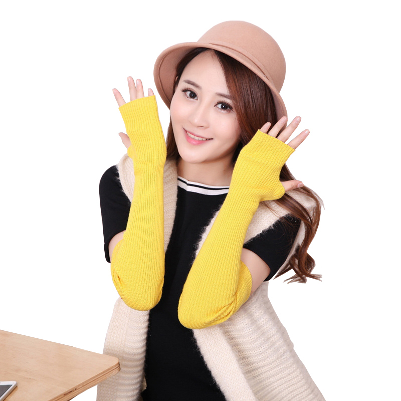 Mittens Women Gloves Autumn Winter Women's Mink Cashmere Hole Arm Warmers Knitted Arm Sleeve Solid Long Knit Fingerless Gloves
