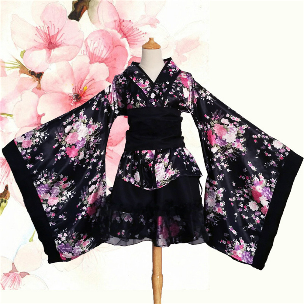 Cosplay Japanese dance kimono lolita maid dress princess dress cherry kimono halloween carnival dress costumes for women