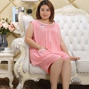 Image 5 - Plus größe 100% baumwolle kurze pyjamas sätze frauen sleeveless XXXXXL 130KG sommer pijama nachtwäsche nette cartoon rosa frauen pyjamas