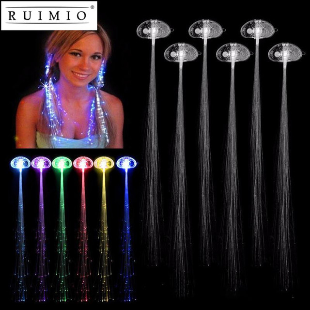 5pcs Multicolor Color Change Led Flashing Fiber Optic Hair Braid Barrettes Lights For Party Light Up
