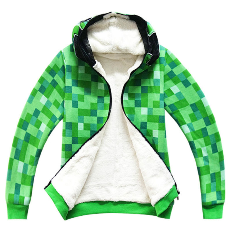 Kids Boys Halloween Minecraft Costume Green Sweatshirt with Hat Clothes Winter Hoodie Coat For Children Winter Jacket Outfit