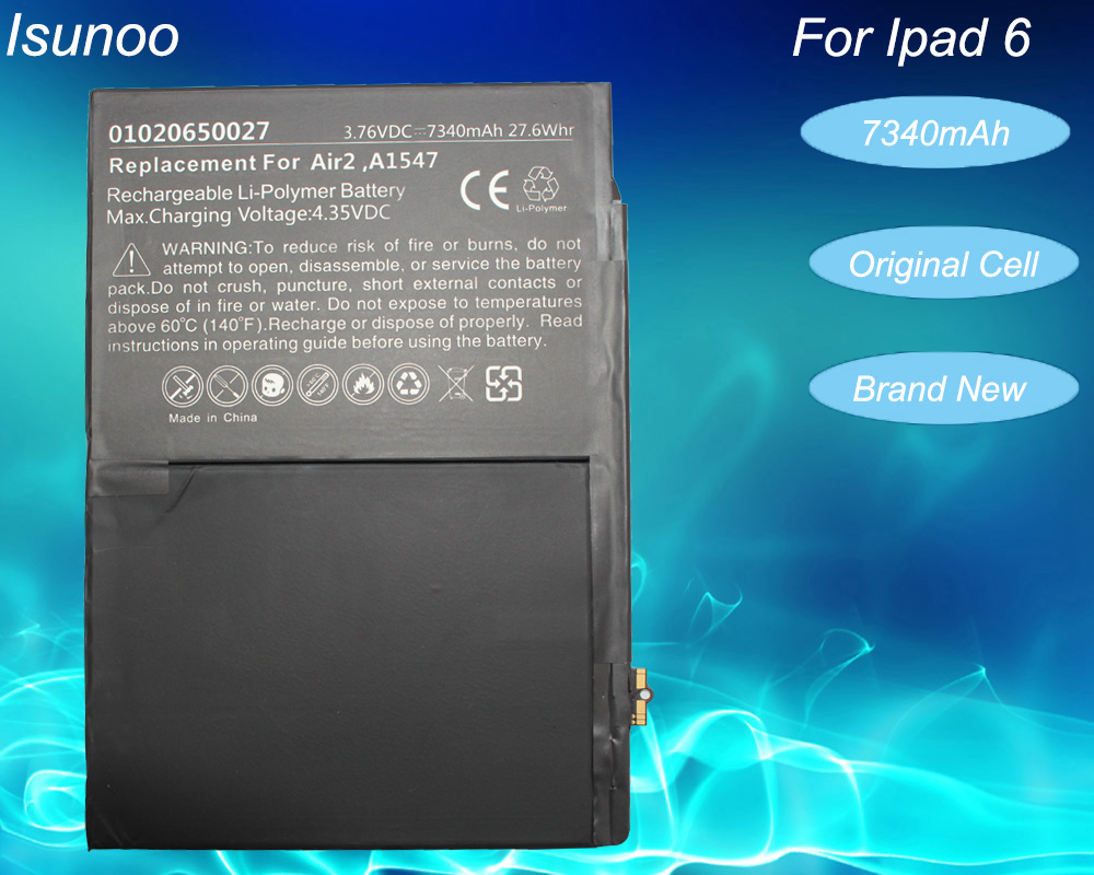 ISUNOO Brand New 7340mAh A1547 Replacement Battery For ipad 6 Air 2 A1566 A1567 battery with repair tools