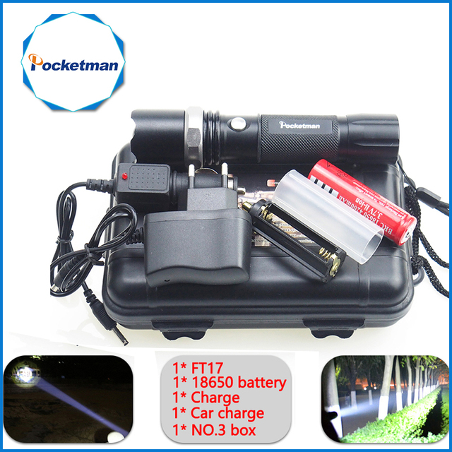 Big Promotion Ultra Bright XM-L T6 LED Flashlight 5 Modes 5200 Lumens Zoomable LED Torch 18650 Battery + Charger 68