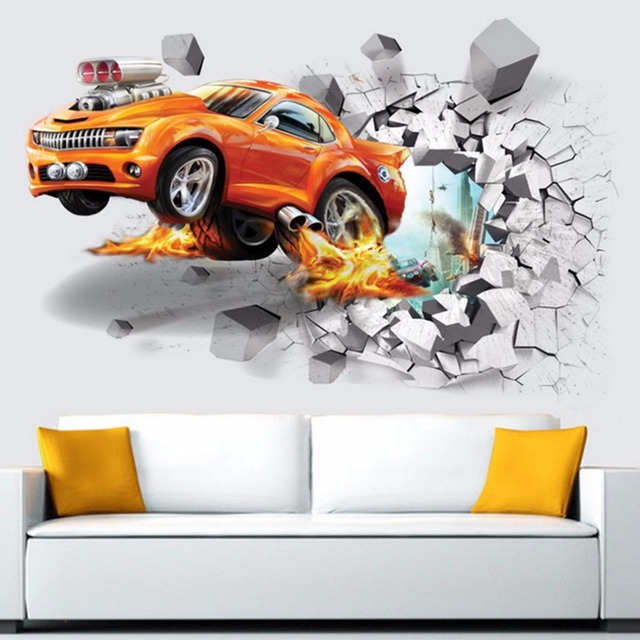 3D Wall Sticker Wall Poster Car Pattern Door Poster Three ...