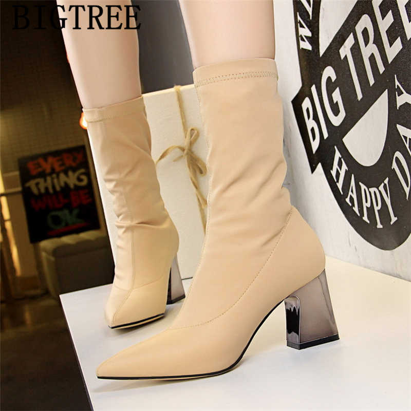 Yarım çizmeler kadınlar için bigtree yüksek topuklu ayakkabı çizmeler seksi çizmeler kadın ayakkabı lüks kalın topuklu botas mujer invierno 2019 scarpe