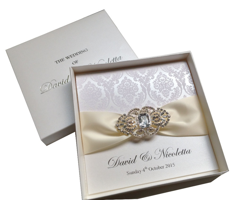 Boxed Luxury Flocking Wedding Invitations With Ribbon And Buckle ...