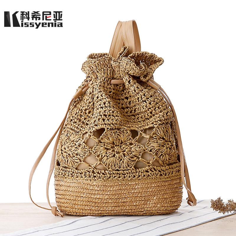 Kissyenia Ins Hot Handmade Rattan Backpacks Women Summer Beach Bali Backpacks Bohemia Straw Backpacks Drawstring Knitted Ks1163