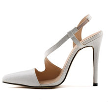 LOSLANDIFEN Women Alligator Leather Pumps 11CM High Heels Cut-outs in One  Side Pointed Toe Ankle Strap Bridal Shoes 06826b03319a