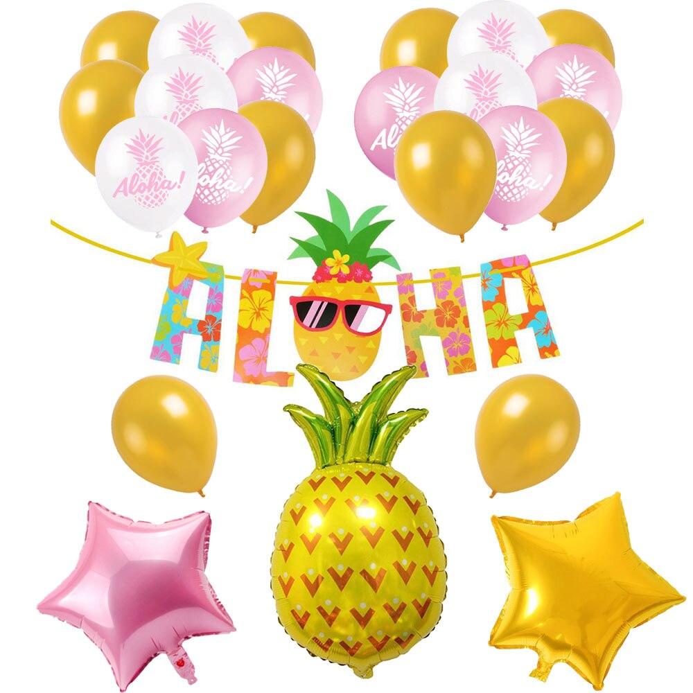 Hawaiian Flamingo et ananas ballon ensembles Joyeux Anniversaire Bannière Décoration