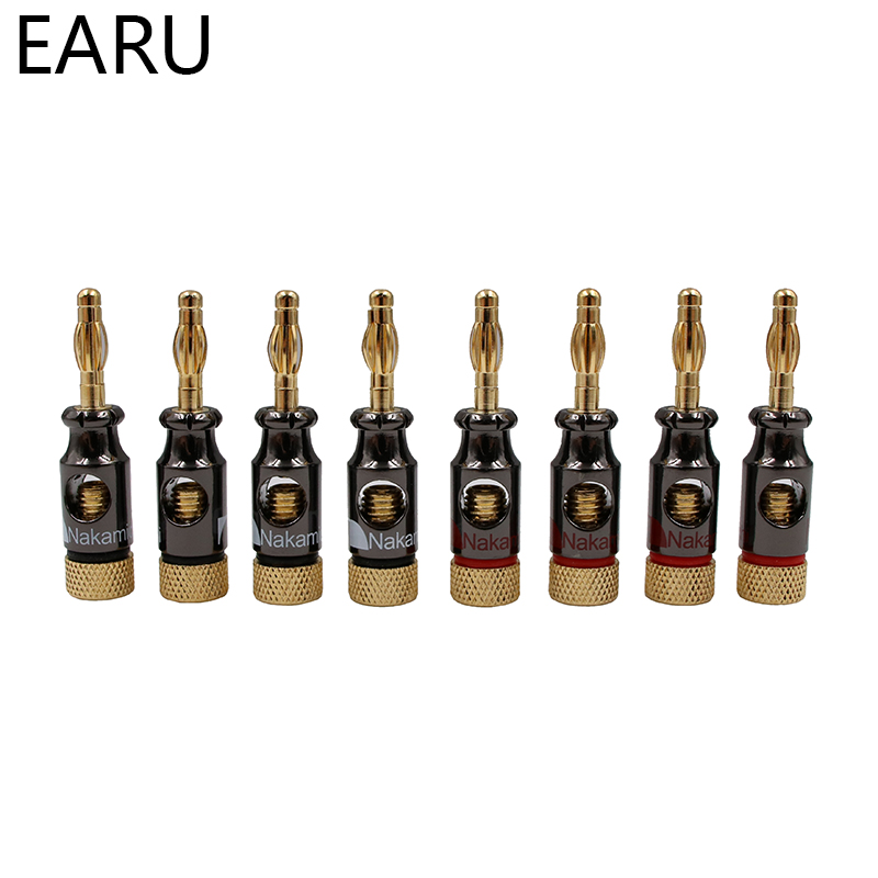 Image 2 - 12Pcs Nakamichi 4mm Banana Plug Spiral Type 24K Gold Screw Stereo Speaker Audio Copper Terminal Adapter Electronic Connectorconnectors electronicconnectors goldconnector 4mm -