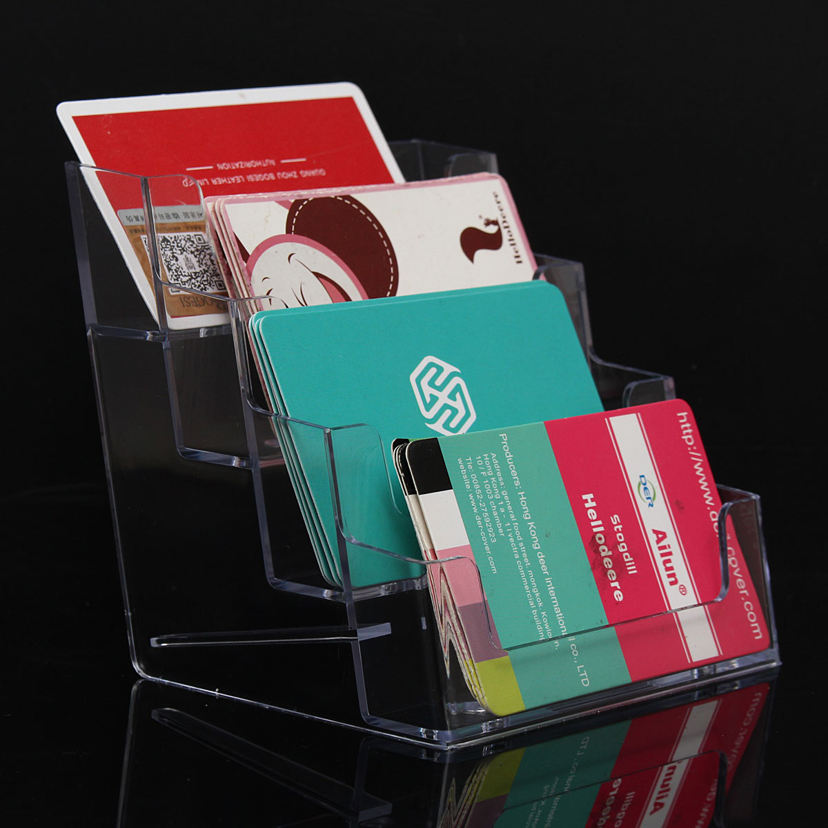 Excellent design high quality four pocket clear desktop office excellent design high quality four pocket clear desktop office counter acrylic business card holder stand display fit for office in card holder note magicingreecefo Image collections