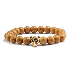 Image 3 - Gold Leopard Head Beads Buddha Bracelet Femme Homme Natural Stone Prayer Yoga Men Jewelry Ethnic Handmade Bracelets&Bangles Gift