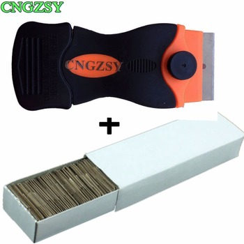 цена на 1pc Cellphone Screen Remove Glue Knife+100pcs Metal Blades Disassemble Clean Scraper Polishing Shovel Oca Adhesive Car Tools K03