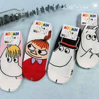 Moomin Valley dibujos animados lindo Cosplay Ucrania calcetines moda clásica divertida Medias Cortas De Mujer blanco rosa corto calcetines 1 par