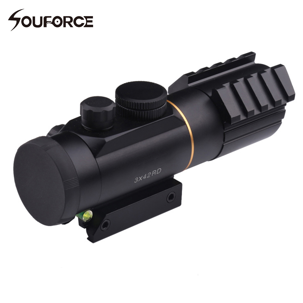 Tactical 3X42 Red Dot Sight Scope Fit Picatinny Rail Mount <font><b>11mm</b></font> or 20mm Riflescope Hunting Shooting with Spirit Bubble Level