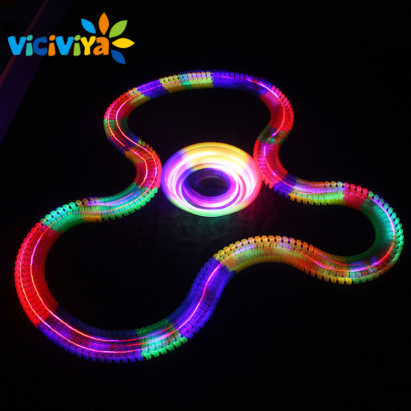 VICIVIYA Miracle Glowing toy Racing Track Set Flexible Track Led Car Toy For Adult 100/165/220/240pcs Race Track + 1pc LED Car ~