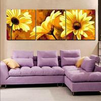 삼부작 DIY 유화 벽 캔버스 그림 거실 장식 색칠 번호 꽃 세공 SP006