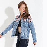 EAM 2017 New Autumn Lapel Long Sleeve Split Joint Lace Embroidered Holes Blue Denim Jacket