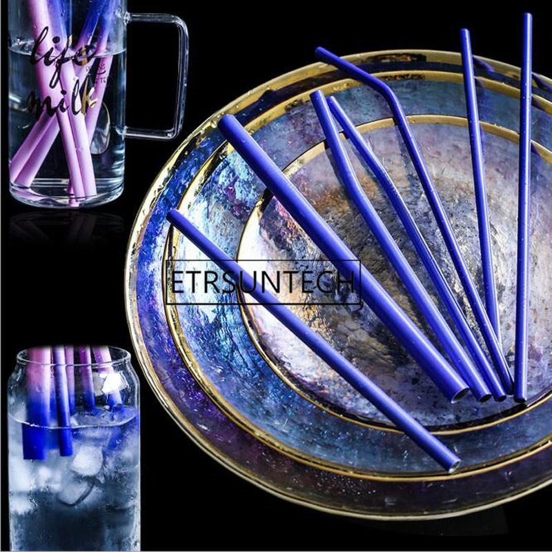 100 sztuk indukcyjna ze stali nierdzewnej temperatura zmiana koloru słomki wielokrotnego użytku metalowe słomki do picia Bar akcesoria w Słomki do picia od Dom i ogród na  Grupa 1