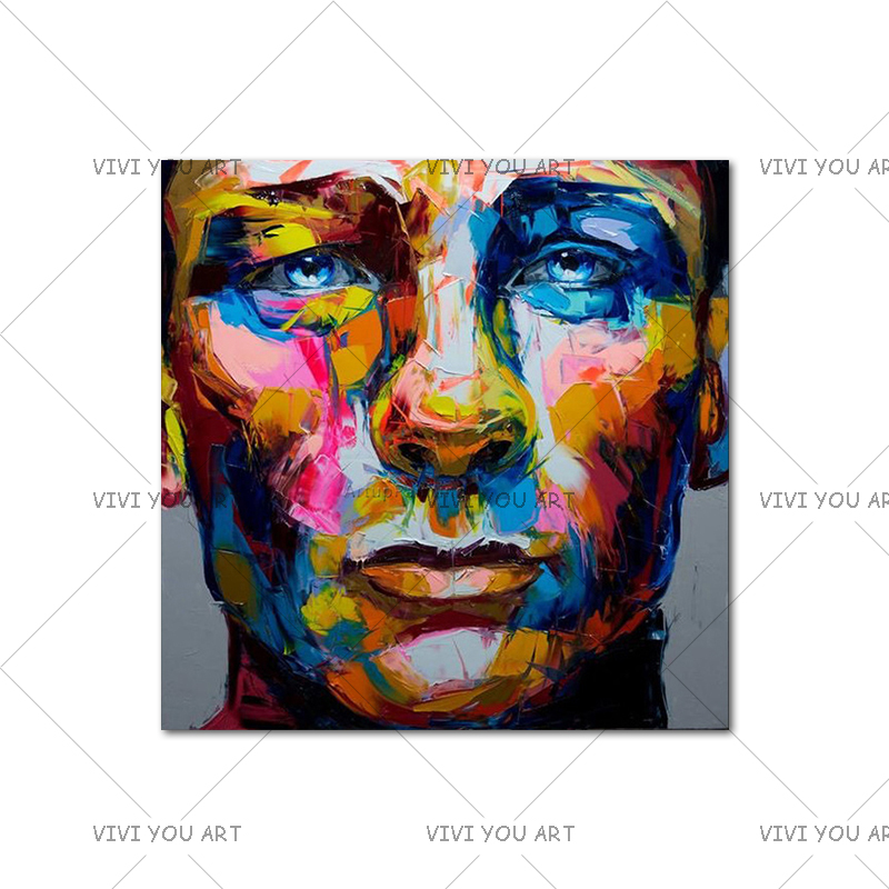 Top Artist Hand-Painted Knife Palette Flamenco Face Oil Painting on Canvas Handmade David Bowie Abstract Portrait Oil Painting image
