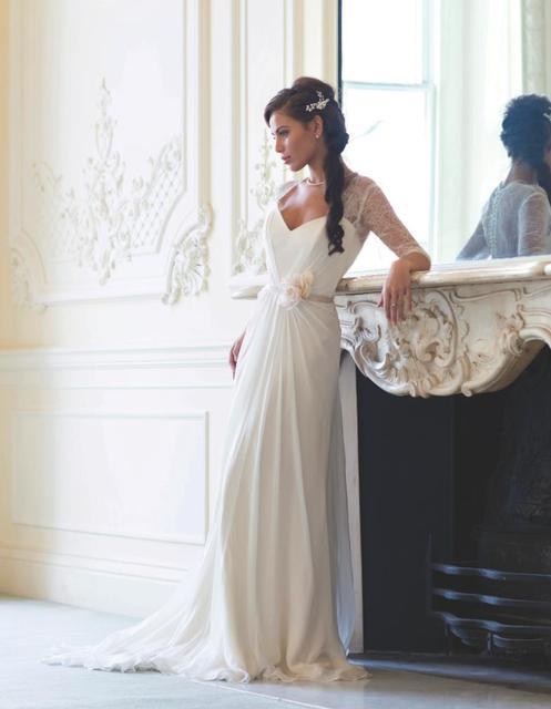 Chiffon Simple But Elegant Long Sleeve Wedding Gown Sheer Back-in ...