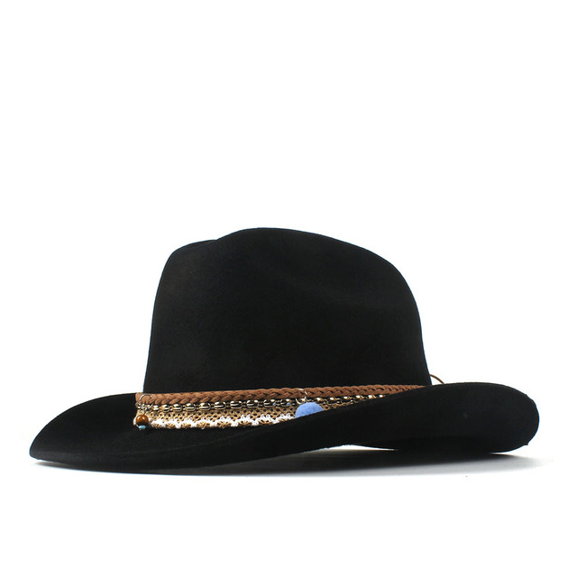 Fashion Women Men Wool Tassel Western Cowboy Hat Lady Black Fedora Outback  Sombrero Hombre Montana Hat 57-59CM Fashion Belt ffb7e8a2cd8
