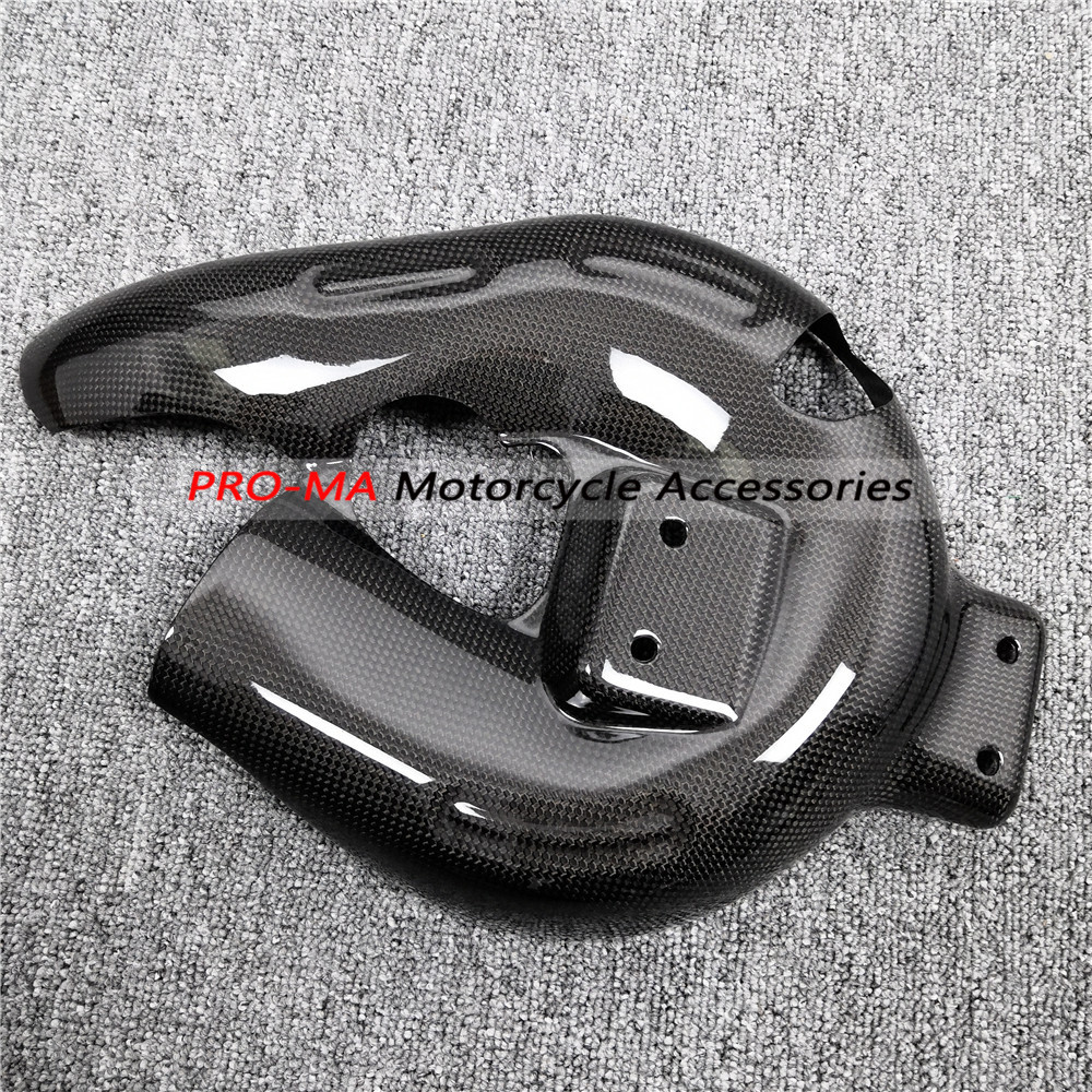Motorcycle (Exhaust Protector)Exhaust Guard In Carbon Fiber For Ducati Panigale 899 1199 959 1299 Plain Glossy Weave