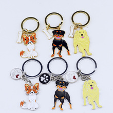 2017 Fashion pug Keychain rottweiler Starling Pendant Metal dogs Keyring Jewelry Gift For Women Girl Bag Charm Animal Lovers
