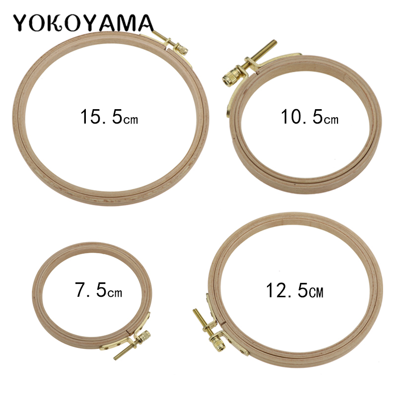 YOKOYAMA 7.5-15.5cm Wooden Cross Stitch Machine Embroidery Hoop Ring Frame Embroidery Hoop Round Needlecraft Sewing Tools 4 Size