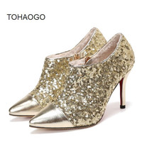 High heel women's shoes Fashion sexy sequins small size 32 33 pointed shoes Heels women pumps Large size women shoe