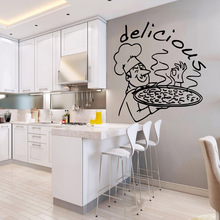 3D Delicious pizze Wall Stickers Personalized Creative vinyl Decals Kitchen Room Mural Commercial