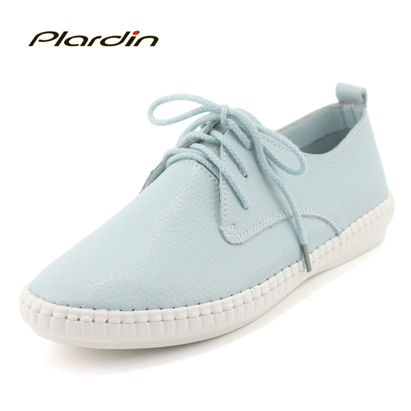 plardin 2018  Round Toe Genuine Leather  Shoes Flat Cut outs Women Shoes Summer Concise Casual Ballet Flats Women Nurse Loafers dreamshining summer women ballet flats round toe slip on shoes cut outs flats shoes white sandals woman loafers zapatos mujer