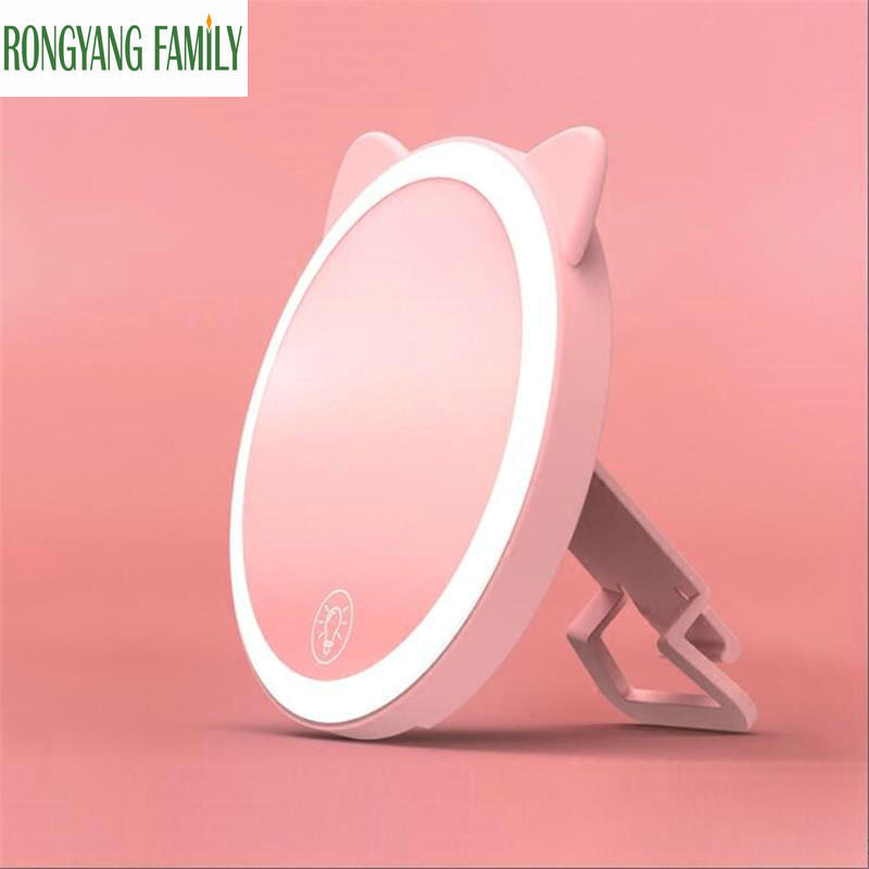 750 MAh LED Lights Touch Screen Decoration Mirror Table Desktop Makeup Mirror Health Beauty Shooting Portable Cosmetic Mirror